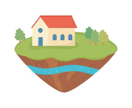 house trees grass soil layer water underground