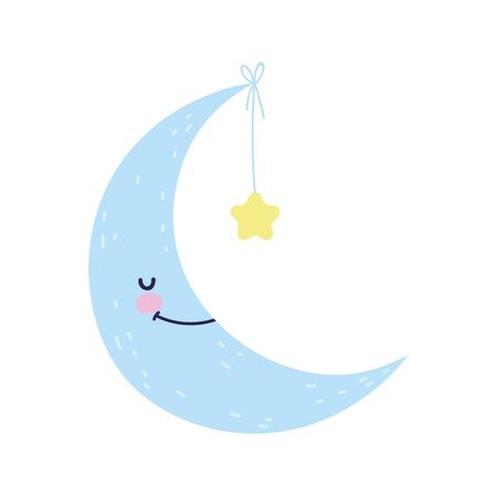 baby shower cute half moon hanging star vector illustration