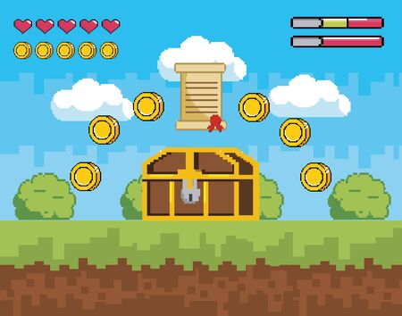 videogame scene with coffer and letter with coins vector illustration