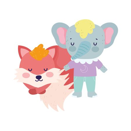 baby shower cute elephant with clothes and sleeping fox