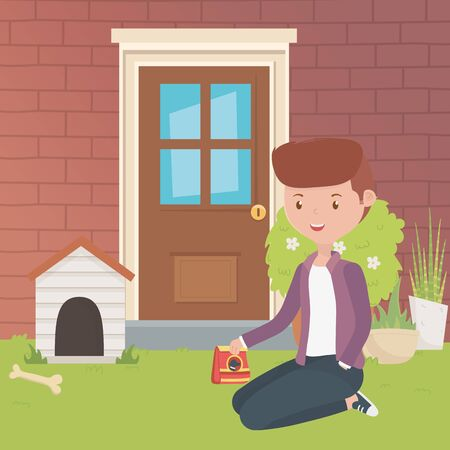 House and boy cartoon design, Mascot pet domestic animal friendship care and lifestyle theme Vector illustration