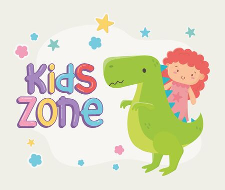kids zone, green dinosaur and little doll toys
