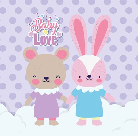 baby shower cute rabbit and bear girls with dress holding hands on clouds