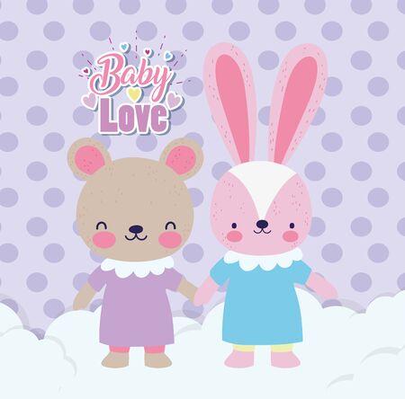 Babyparty süße Kaninchen- und Bärenmädchen mit Kleid, das Händchen auf Wolken hält