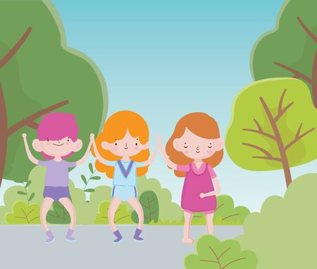 happy childrens day two little girls and boy in the route with trees bush foliage vector illustration Illustration