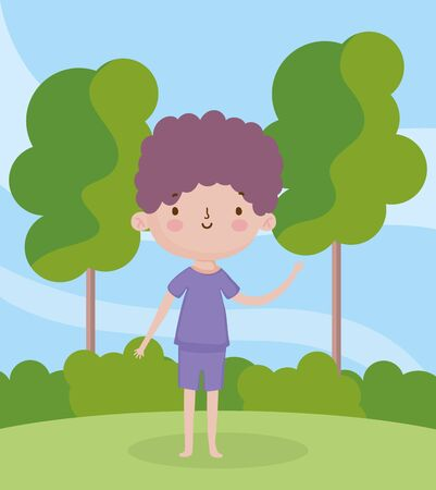 childrens day, little boy with purple clothes in the park vector illustration Ilustracja