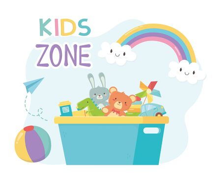 kids zone, filled bucket plastic with toys storage vector illustration