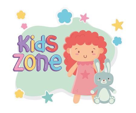 kids zone, cute little doll and rabbit toys vector illustration