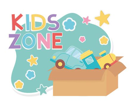 kids zone, cardboard box with train and car toys