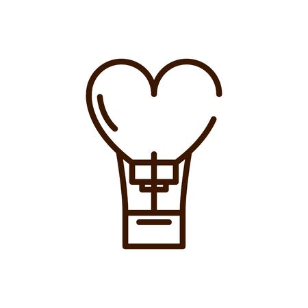 hot air balloon love heart romantic passion feeling related icon vector illustration thick line
