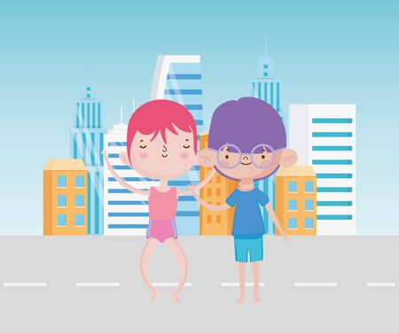 happy childrens day cute little boys cartoon standing in the city street vector illustration