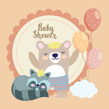 baby shower cute bear with short pants raccoon balloons cartoon vector illustration  イラスト・ベクター素材