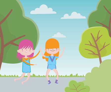 happy childrens day little girls in the road park trees Illustration