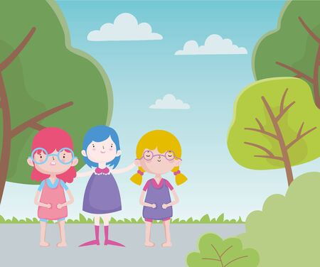 happy childrens day cheerful group little girls in the road with trees