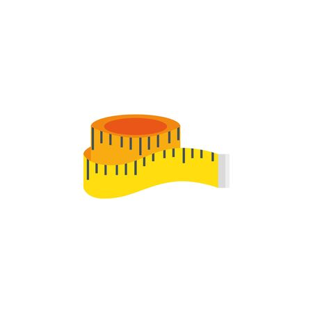 tape measure workout accessory flat icon vector illustration design