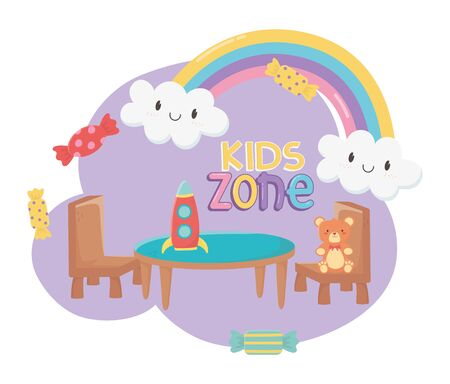 kids zone, teddy bear rocket table and chairs toys