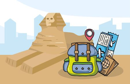 egyptian ancient sphinx backpack tickets passport tourist vacation travel