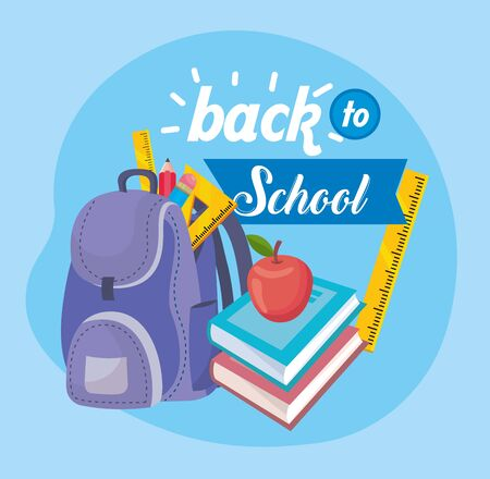 backpack with books and apple fruit with pencils to back to school vector illustration