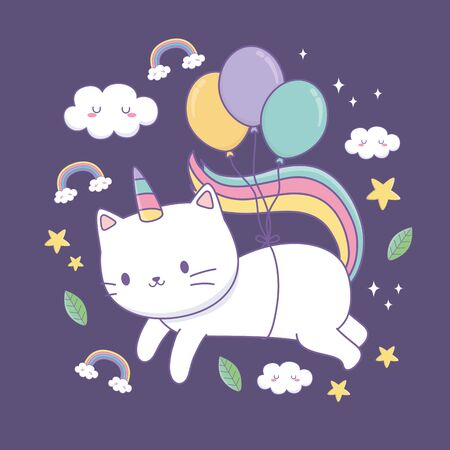 cute cat with rainbow tail and balloons helium kawaii character vector illustration