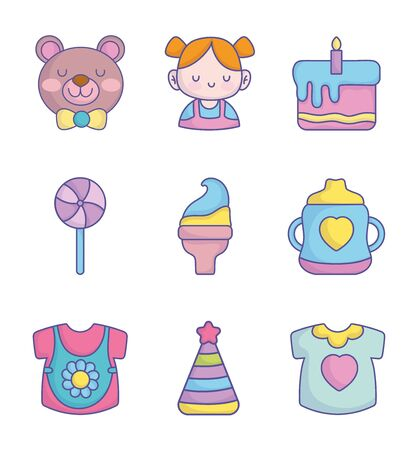 baby shower clothes toys accessories icons collection on white background vector illustration