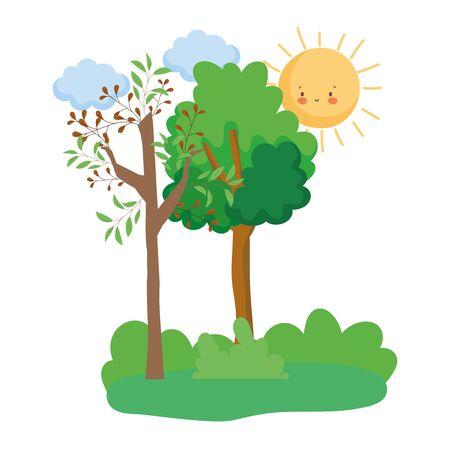 Trees design, Nature plant summer season environment natural and abstract theme Vector illustration