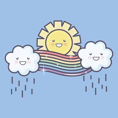 cute summer sun and clouds rainy with rainbow kawaii characters illustration design