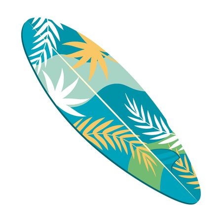 Surfboard design, Surfing summer sport beach sea holiday and travel theme Vector illustration