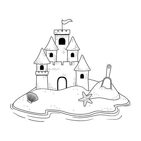 Sand castle in the beach design