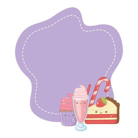 Sweet food design, dessert sugar delicious snack and tasty theme Vector illustration