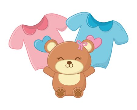 toy bear and baby clothes with heart in the middle vector illustration graphic design