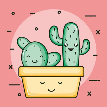 cactus plants in pots kawaii characters vector illustration design