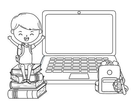 Niño chico de escuela y diseño de portátil. Ilustración de vector