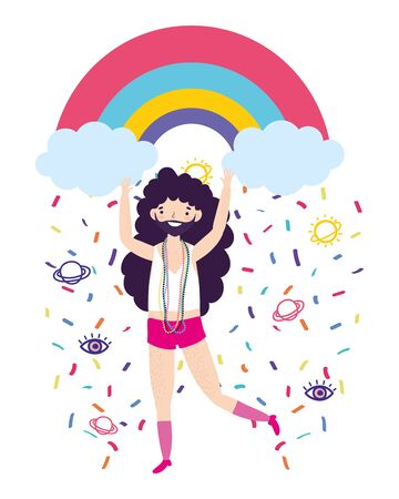 Man cartoon design, Lgtbi march pride equality freedom love and community theme Vector illustration