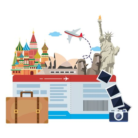 landmarks icon set design, Travel trip vacation tourism journey and tourist theme Vector illustration
