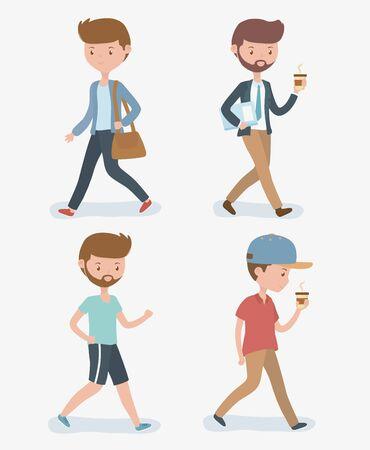 young men walking avatars characters