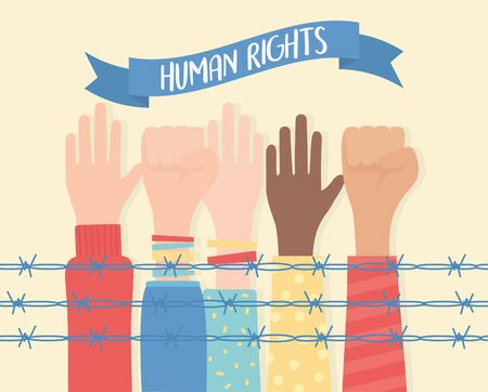 human rights, raised and fist hands diversity behind barbed wire vector illustration