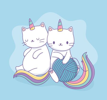 cute cats with rainbow tails and wool ball kawaii characters vector illustration