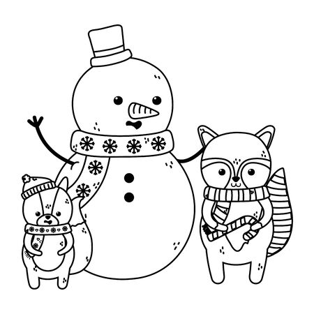 cute snowman raccoon and squirrel scarf merry christmas vector illustration thick line