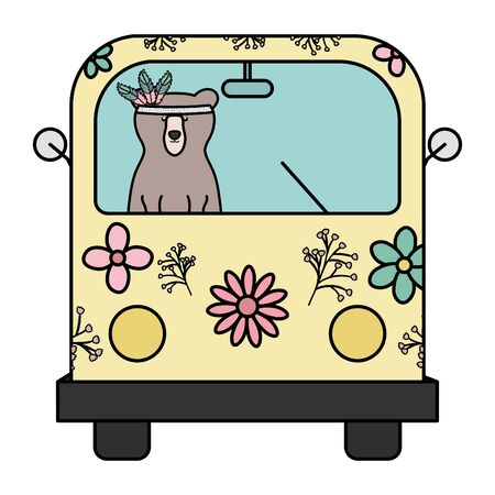 bear grizzly with feathers hat in hippie van vector illustration design