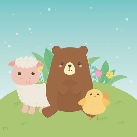 cute bear and sheep and chick animals farm characters vector illustration design Çizim