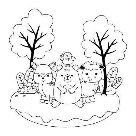 Bear sheep chicken and deer cartoon design, Animal cute zoo life nature and fauna theme Vector illustration Векторная Иллюстрация