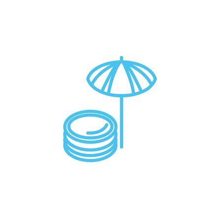 umbrella water line style icon illustration design Çizim