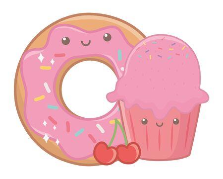 Sweet food design, dessert food delicious sugar snack and tasty theme Vector illustration