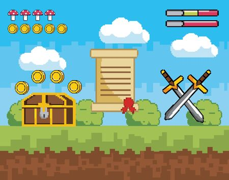 pixelated videogame scene with coffer and coins with letter and swords vector illustration Ilustración de vector