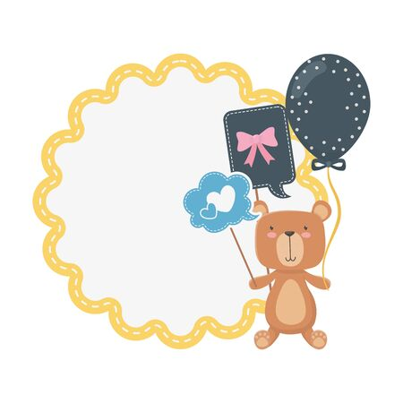 Baby shower icon set design, Invitation party card decoration love celebration arrival and born theme Vector illustration