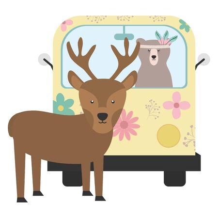 reindeer and bear in hippie van bohemian style vector illustration design