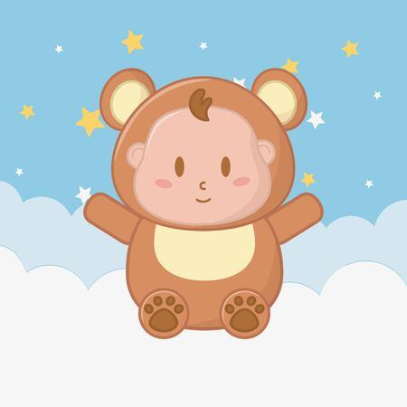 Baby boy in bear costume sitting over a cloud illustration