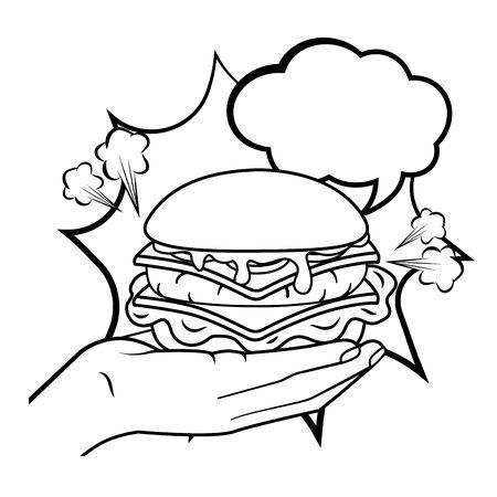 Mano que sostiene la hamburguesa y el icono de la burbuja del discurso de dibujos animados del arte pop en blanco y negro ilustración vectorial diseño gráfico