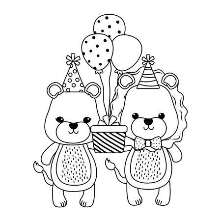 Animals with  birthday icon design