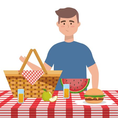 Man cartoon having picnic design, Food summer outdoor leisure healthy spring lunch and meal theme Vector illustration Illustration